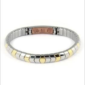 Bracciale elastico magnetico acciaio e oro con rame