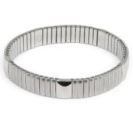 Bracciale elastico leggero in acciaio rodiato